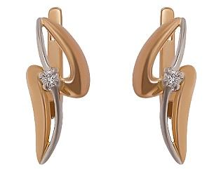Золотые серьги с бриллиантом 01-17635570 фотография