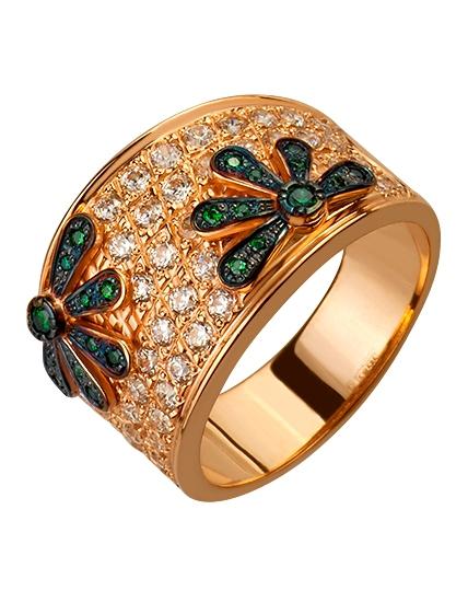 """Золотое кольцо 585 пробы с фианитами (15-000087371) """"Ювелирная карта"""""""