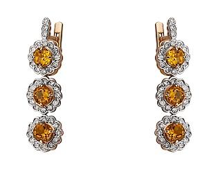 Золотые серьги с бриллиантом и цитрином 4-с-1227 фотография
