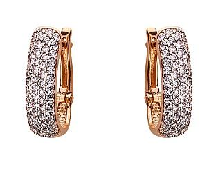 Золоті сережки з цирконієм куб. 01-17528371 фотографія