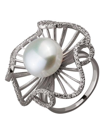 Золотое кольцо с жемчугом и фианитами (15-000105573)