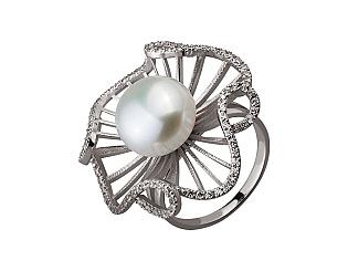 Золотое кольцо с фианитом и жемчугом 2б_к-175 фотография