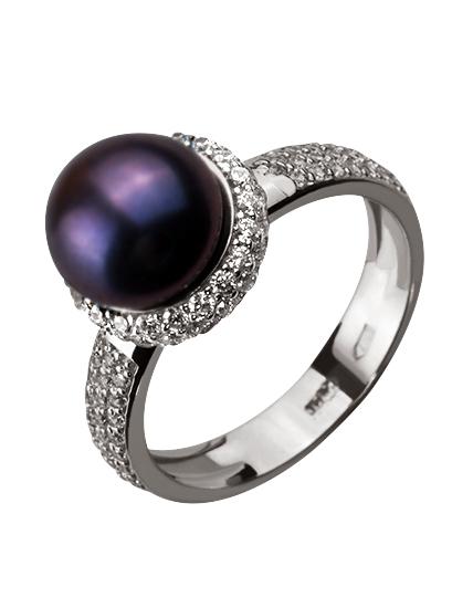 Золотое кольцо с фианитами и жемчугом 2б_к-131 фотография 1
