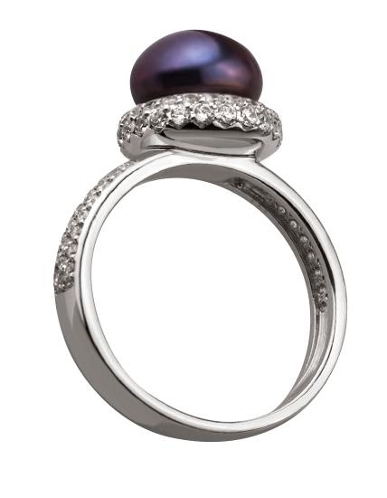 Золотое кольцо с фианитами и жемчугом 2б_к-131 фотография 2