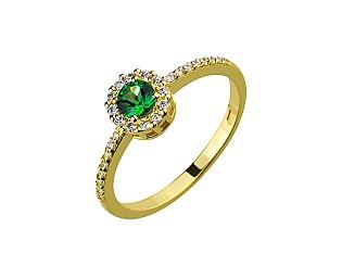 Золота каблучка з топазом і діамантами 3б_к-141 фотографія