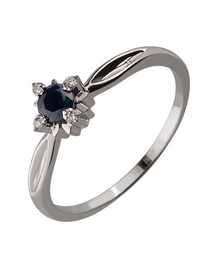 Золотое кольцо с бриллиантом и корундом 01-17586572 фотография 1