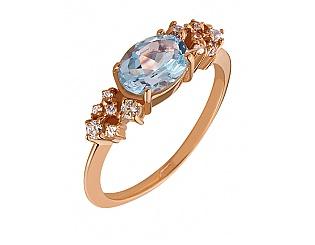 Золотое кольцо с топазами и фианитами 1б_к-073 фотография