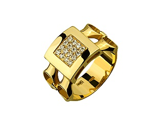 Золота каблучка з фіанітами 3б_к-006 фотографія