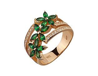 Золотое кольцо с топазами и фианитами 1б_к-153 фотография