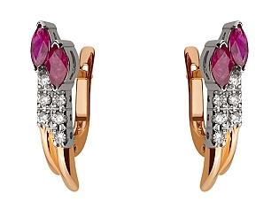 Золоті сережки з діамантами 01-17423873 фотографія