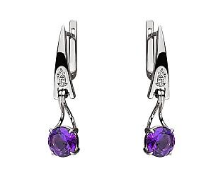 Золоті сережки з діамантом і аметистом 01-17528473 фотографія