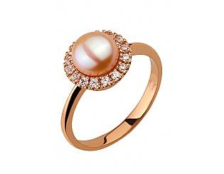 Золотое кольцо с фианитом и жемчугом 1б_к-115 фотография