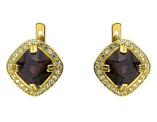 Золоті сережки з кварцом 01-17463574 фотографія