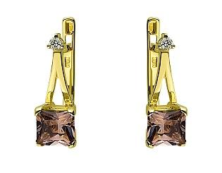 Золоті сережки з кварцом 01-17497174 фотографія