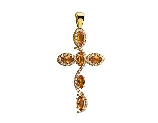 Золотой  кулон с цитрином 01-17506374 фотография