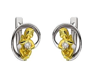 Золоті сережки з діамантом 01-17586574 фотографія