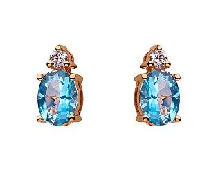 Золоті сережки з топазом і діамантами 1с-008 фотографія
