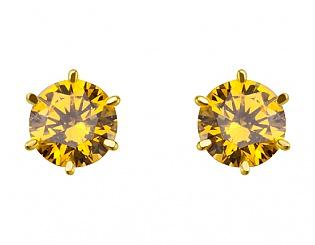 Золоті сережки з цирконієм куб. 3с-161 фотографія