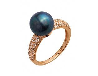 Золотое кольцо с фианитами и жемчугом 1б_к-109 фотография