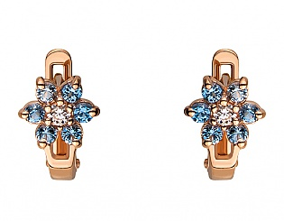 Золоті сережки з фіанітом і шпінеллю 1б_с-052 фотографія