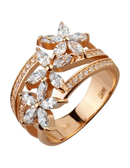 Золотое кольцо Цветы с фианитами e38072a496c65