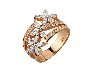 Золотое кольцо с фианитом и цирконием куб. 1б_к-153 фотография