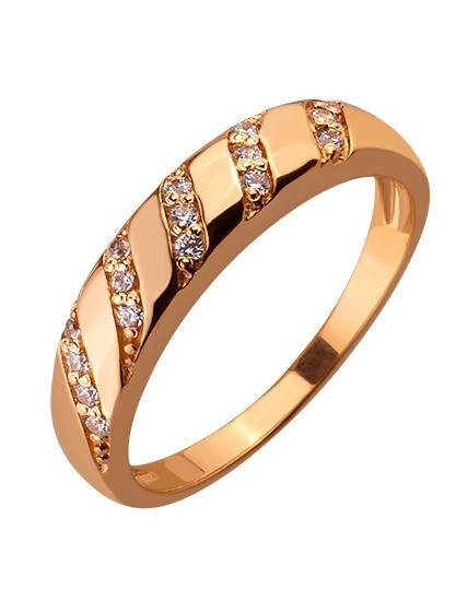 Золотое кольцо с цирконием куб. 01-17586576 фотография 1