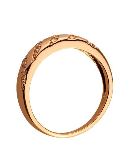Золотое кольцо с цирконием куб. 01-17586576 фотография 2