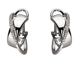 Золоті сережки з діамантом 01-17593076 фотографія
