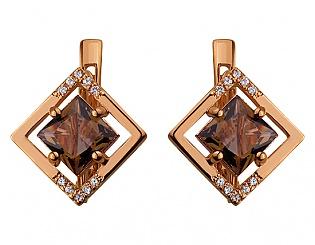 Золоті сережки з цирконієм куб. і ювелірним склом 1б_с-022 фотографія
