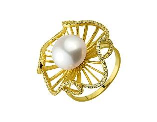 Золотое кольцо с фианитом и жемчугом 3б_к-175 фотография