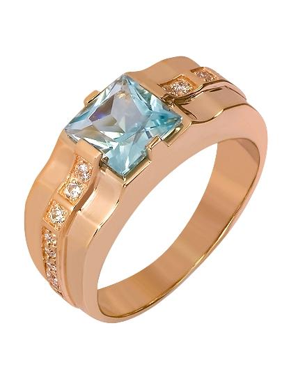 Золотой перстень 585 пробы с топазом и фианитами (15-000069782)