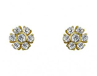 Золоті сережки з фіанітами і цирконіями 3б_с-092 фотографія