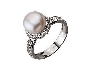 Золотое кольцо с фианитами и жемчугом 2б_к-131 фотография