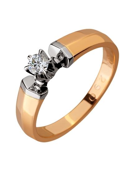 Золота каблучка з діамантом 01-17578979 фотографія 1