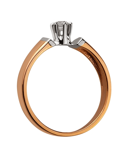 Золотое кольцо с бриллиантом 01-17578979 фотография 2