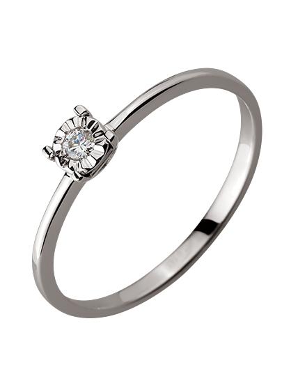Золота каблучка з діамантом 01-17620879 фотографія 1