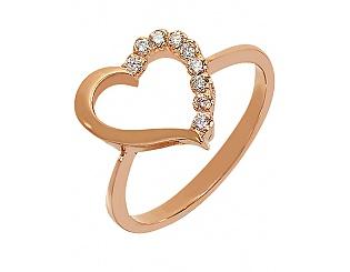Золотое кольцо Сердце с бриллиантами  15-000103429 56e1b4f7525e5