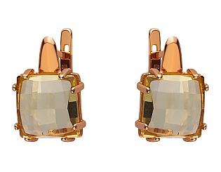 Золоті сережки з кварцом 01-17463580 фотографія