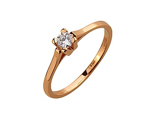 Золота каблучка з діамантом 01-17656580 фотографія