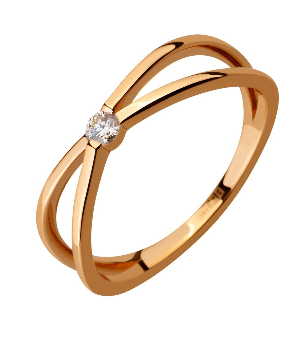 Золота каблучка з діамантом 1к-002 фотографія 2