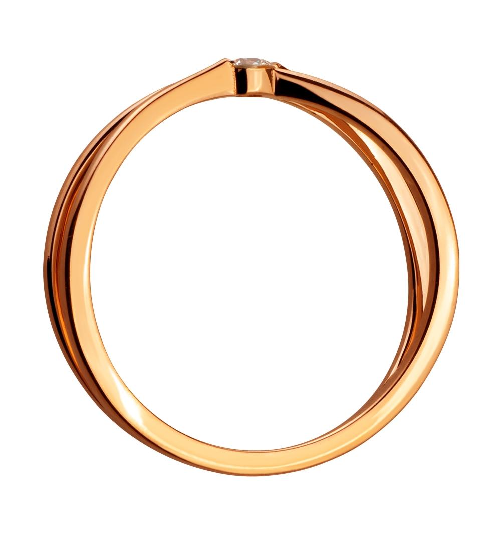 Золота каблучка з діамантом 1к-002 фотографія 3