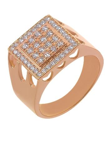 Золотой перстень 585 пробы с фианитами (15-000057391)