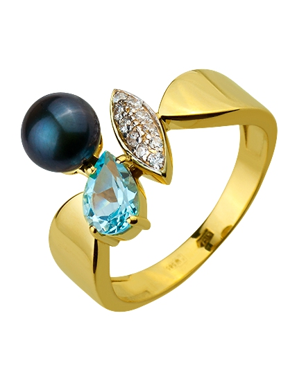 Золотое кольцо с топазом и фианитом и жемчугом 9б_к-133 фотография 1