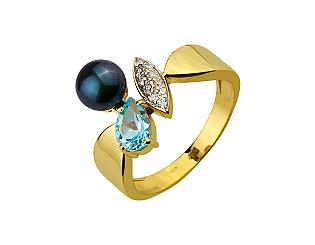 Золотое кольцо с топазами и фианитами и жемчугом 9б_к-133 фотография