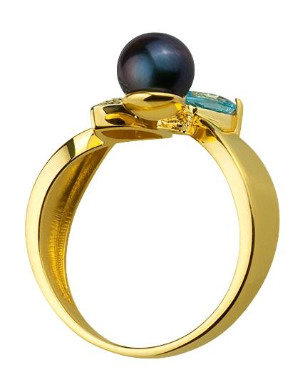 Золотое кольцо с топазом и фианитом и жемчугом 9б_к-133 фотография 2