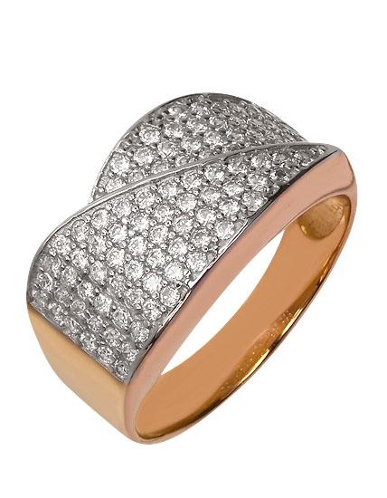 Золотое кольцо 585 пробы с фианитами (01-15541681)