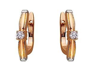 Золотые серьги с бриллиантом 01-17656581 фотография