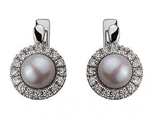 Золоті сережки з цирконіями і перлинами 2б_с-072 фотографія