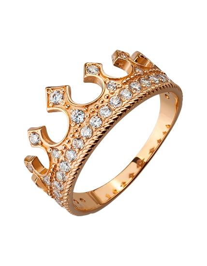 118e52502775 Золотое кольцо Корона с фианитами, м-01-17285182, Кольцо из золота ...